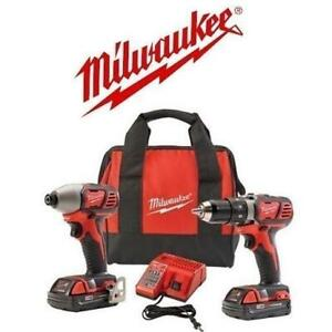 NEW  MILWAUKEE DRILL DRIVER COMBO 2691-22 246709347 18V M18 CORDLESS WITH 2 BATTERIES AND 1 CHARGER KIT TOOLS