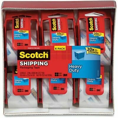 Scotch Heavy Duty Shipping Packaging Tape 6 Rolls With Dispenser Clear 1.88