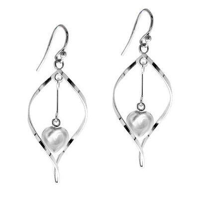 - Sterling Silver Dangling Heart 3D Teardrop Earrings Stamped 925