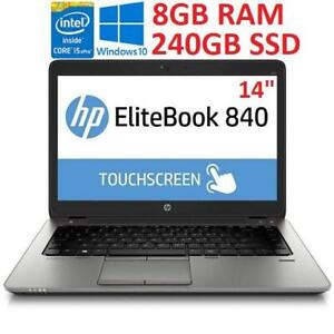 RFB HP ELITEBOOK 840 G2 TOUCH PC 238703507 14 TOUCHSCREEN I5-5300U 8GB RAM 240GB SSD WIN10 LAPTOP NOTEBOOK REFURBISHED