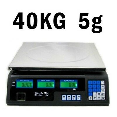 40 kg 5 g Digital Waage Preisrechenwaage Ladenwaage Kassenwaage 23 x 34 cm #1173
