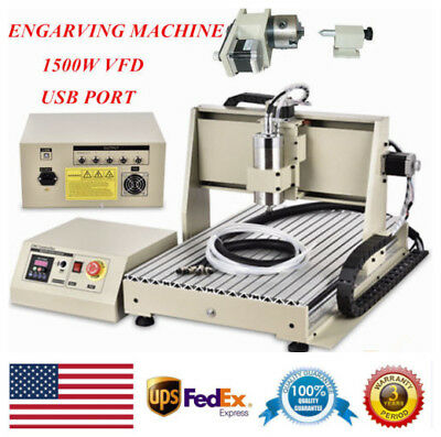 Usb 1.5kw 4axis Cnc Router 6040 Engraver Machine Mill Drill Woodworking 3d Carve