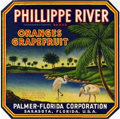 Sarasota Florida Phillippe River Orange Citrus Fruit Crate Label Art Print