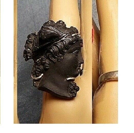 Antique Black Jet Cameo Ring Curly Hair Hanging Tendrils Hairband, 925 Ring OOAK