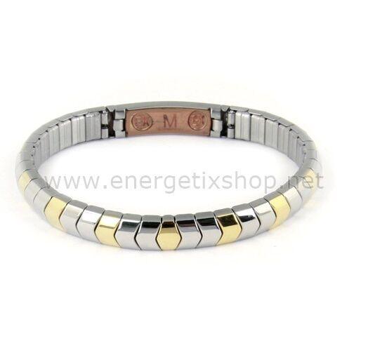 ENERGETIX Unisex Casual flex-magnetarmband in acciaio inox bicolore 440