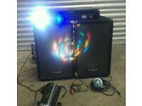 Dj Kit 2x Prosound speakers + Amp + 3x Disco light + Wires