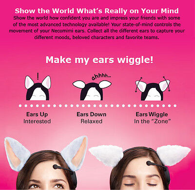 Necomimi Brainwave Emotion Controlled White Cat Ears Cosplay Headband