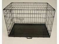 """42"""" Dog/Puppy cage with metal tray, used."""