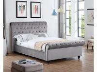 Same day Timed 7 days a week SALE Grey Velvet Sleigh Bed Frame Mattress option
