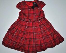 Red tartan dress 12-18 Months