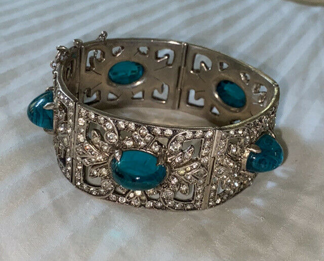 RARE Antique Victorian Sterling Silver Paste Diamond Bracelet