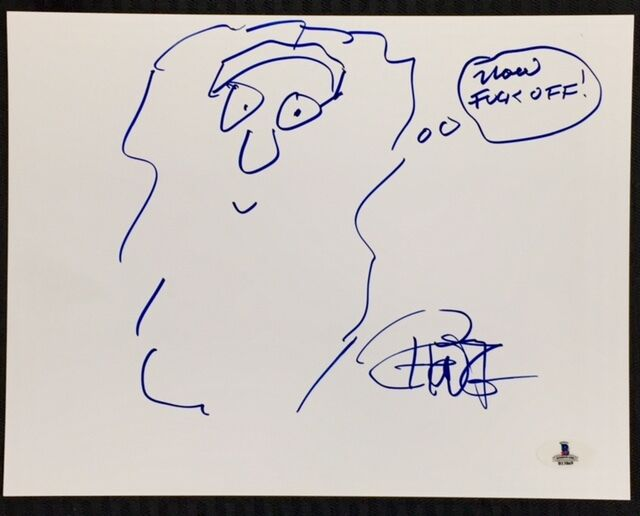 Tommy chong signed hand-drawn self portrait sketch bas beckett coa autograph