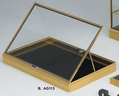 Gold Aluminum Glass Display Showcase Black Pad Theft Guards Made In The Usa New