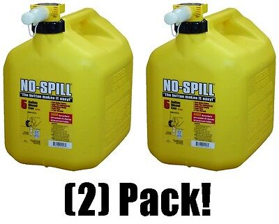 2 Ea No Spill 1457 5 Gallon Carb Compliant Yellow Diesel Fuel Can Containers