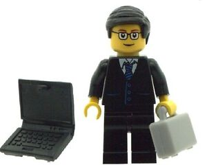 LEGO-Office-Geek-Business-Man-Minifig-with-Laptop-and-Breifcase-NEW