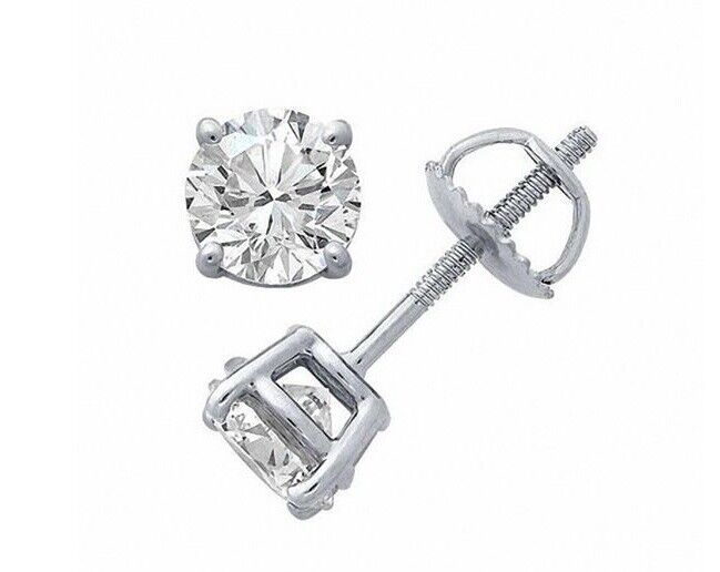 GIA CERTIFIED PLATINUM I COLOR SI2 ROUND BRILLIANT 1.40 CT TW DIAMOND EARRINGS