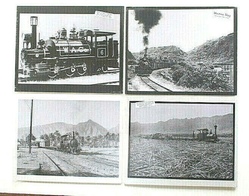 """COLLECTION OF FOUR (1 LOT) ASSORTED HAWAII TRAIN PHOTOS ON 8X10"""" MAT (ref1)"""