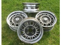 Four Scimitar GTE / MGB V8 Type Dunlop Wheels.