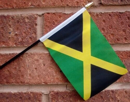 "JAMAICA HAND WAVING FLAG Small 6"" x 4"" with black pole Jamaican Caribbean"