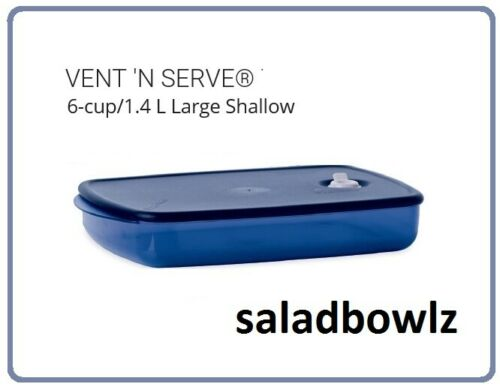 TUPPERWARE New VENT N SERVE LARGE SHALLOW Container Dish in INDIGO fREEsHIP