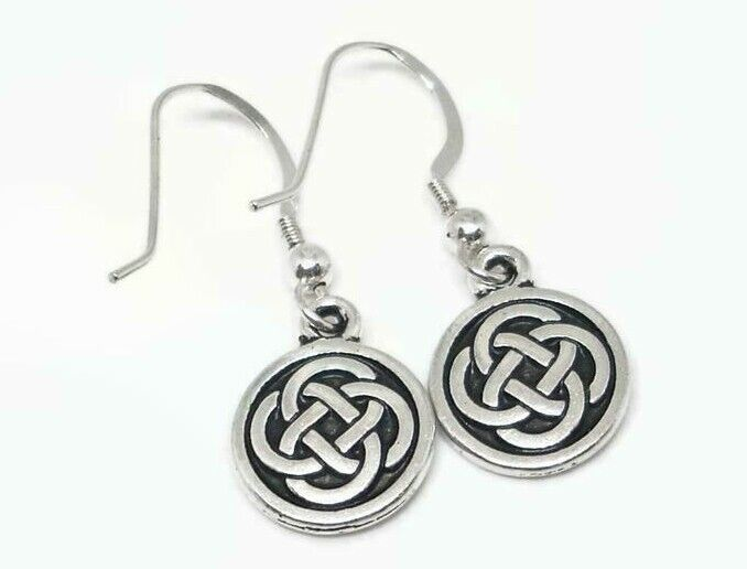 Dainty Celtic Round Knot Earrings Dangle Style Sterling Silver Earwires