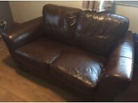 SMALL BROWN LEATHER TWO SEATER SOFA/SETTEE/CHAIR