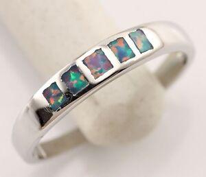 Rainbow Fire Opal Women Jewelry Gemstone Silver Ring Size #6