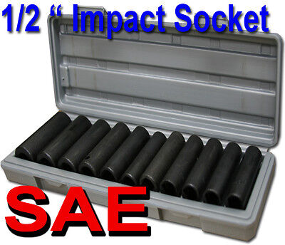 """12pcs 1/2"""" Deep Impact Socket Set SAE Mould Case 3/8"""", 7/16"""", 1/2"""", 9/16"""", 5/8"""""""