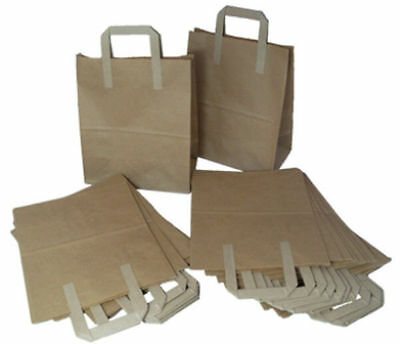 50 BROWN KRAFT PAPER CARRIER BAGS - SIZE 8 x 4 x 10