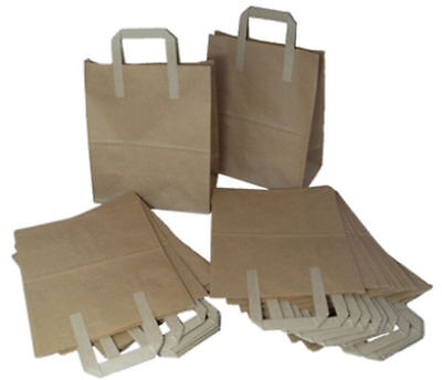 200 BROWN KRAFT PAPER CARRIER BAGS - SIZE 8 x 4 x 10