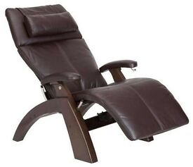 The Perfect Zero Gravity Recliner Electric Chair - Brown Leather and Walnut