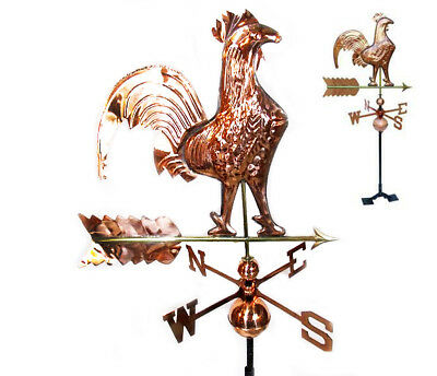 Copper Polished Rooster Weathervane Weather Vane Roof bracket Mounting (Polished Rooster)