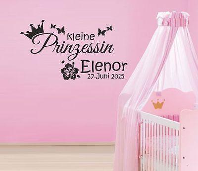 Wandaufkleber Wandtattoo Aufkleber Kinder Tattoo Baby Prinzessin Geburt Name 53 ()