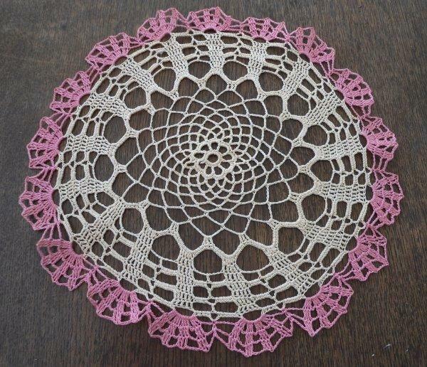 """Vintage Set 2 Pink Crochet Lace Doilies Ecru Doily Pair 13"""""""