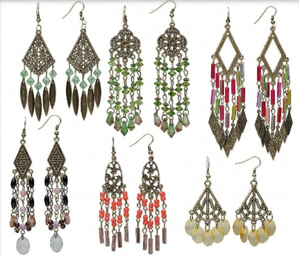 Boho Chandelier Earrings Steampunk Antiqued Brass Lot of 6 pairs