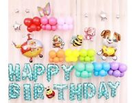 Mini Dogs Happy Birthday Foil Balloons Package Party Decoration