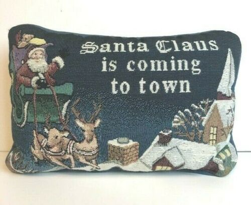 Santa Claus Is Coming To Town Woven Christmas Pillow Manual Woodworkers Weavers
