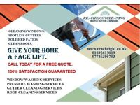 Window cleaning, Roof cleaning, Gutter cleaning, Pressure washing, Domestic, Commercial & Industrial