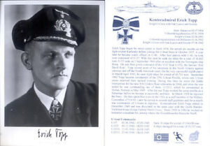 UB1 WWII WW2  U-boat Captain ERICH TOPP KC hand signed photograph