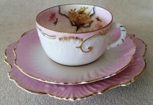 Trio – Pale Pink, White and Gold Vintage Teacup set