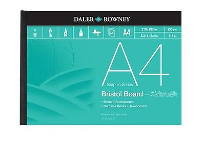 DALER ROWNEY BRISTOL BOARD PADS - A4 (250gsm) Great With Air Brush