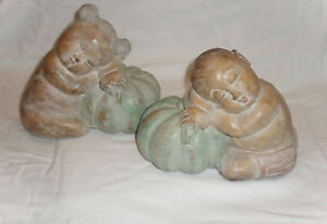 2 VINTAGE HAND CRAFTED WOOD STATUES SLEEPING CHILDREN DECOR