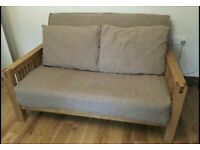 Futon Company OKE Sofa Bed Solid Oak Wood Frame + Thick Mattress + 2 Cushions - Cost £900 VGC