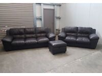 Reid's Brown Italian leather 4 + 2 seater + storage footstool CAN DELIVER
