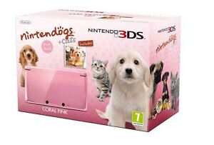 Nintendo 3DS Console Coral Pink Bundle With Video Game Nintendogs & Cats New