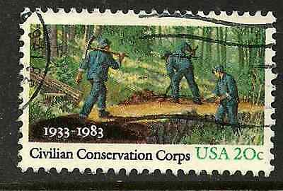 UNITED STATES POSTAL ISSUE -1983 - USED COMMEMORATIVE STAMP - CIVILIAN CORPS