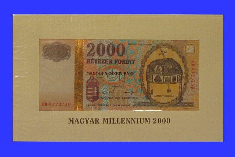 UNC Hungarian Banknote 2000 HUF Forint 2000Ft Hungary 2000 Millennium - Rare!