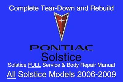 Pontiac Solstice 2006 - 2009 Service Repair Workshop Manual Maintenance GM DVD