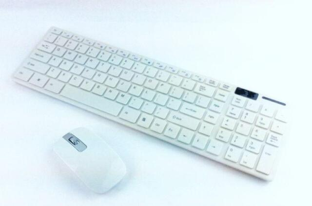 Ultra-Slim Multimedia Portable Wireless Keyboard and Mouse for PC, Whiite