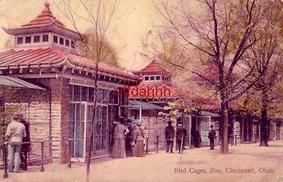 BIRD CAGES ZOO CINCINNATI, OH 1908 handcolored The Gibson Art Co.